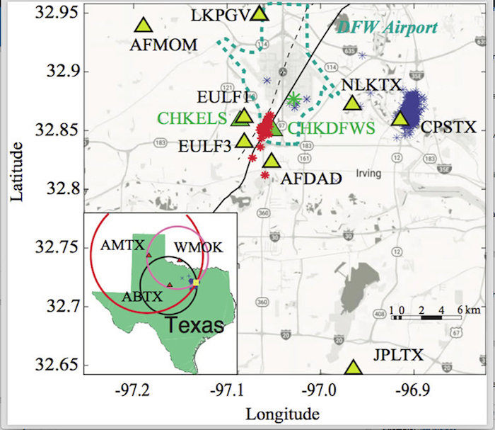 Study area for the DFW Airport earthquake sequence. Yellow triangles are the 2008-2009 SMU operated stations. Blue asterisks are the earthquakes reported by the 2013-2016 SMU earthquake catalog, indicating continued seismicity at the DFW Airport -- its boundaries indicated by the dotted blue-green line. Solid black line is the DFW Airport fault. Credit: SMUStudy area for the DFW Airport earthquake sequence. Yellow triangles are the 2008-2009 SMU operated stations. Blue asterisks are the earthquakes reported by the 2013-2016 SMU earthquake catalog, indicating continued seismicity at the DFW Airport -- its boundaries indicated by the dotted blue-green line. Solid black line is the DFW Airport fault. Credit: SMU