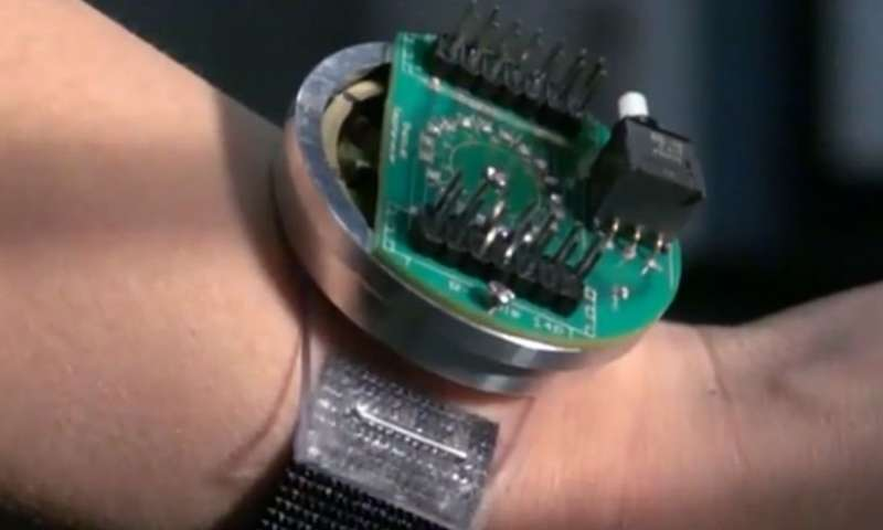 A piezoelectric energy harvester in a novel wristwatch-like device. Credit: Penn State