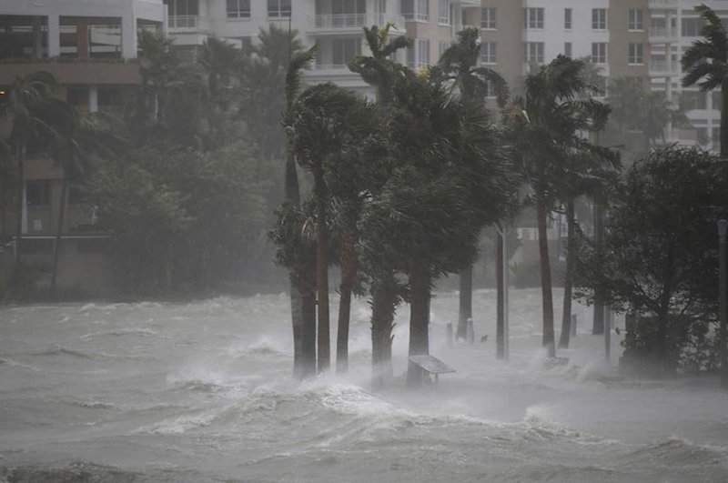 Figure 1. Water flows out of the Miami River to flood a walkway as Hurricane Irma passes through on September 10, 2017 in Miami, Florida. Image credit: Joe Raedle/Getty Images.