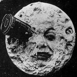 "Pictured above is a frame from the 1902 movie ""A Trip To The Moon."""