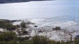 Incredible huge landslide. Houses floating into the sea. (Alta, Norway)